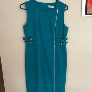 Calvin Klein turquoise Side Belt Dress